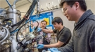 Berkeley Lab scientists Junqiao Wu, Changhyun Ko, and Fan Yang (l-r) are working at the nano-Auger electron spectroscopy instrument at the Molecular Foundry, a DOE Office of Science User Facility.