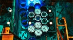 A blue glow from Cherenkov radiation in the reactor pool of the High Flux Isotope Reactor from stored fuel elements.