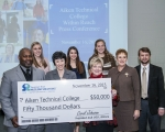 Pictured (front row from left): Dr. Sean Alford, Aiken County Public School District superintendent; Dr. Susan Winsor, ATC president; Carol Johnson, SRNS president and CEO; Mary Commons, ATC Foundation director; Dr. Vinson Burdette, ATC vice president of enrollment management; (second row from left) 2015-16 Within Reach Scholarship recipients and first-year ATC students Bethany Lewis, Abby Camacho, and Katelynn Johnson.