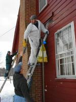 Weatherization auditors and crews assist in making a Vermont home more energy-efficient in New England winters.   Photo Courtesy of Southeastern Vermont Community Action (SEVCA) Agency  