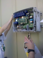 Caption: Inverters allow for the electricity produced by solar panels to be converted into electricity. Licensed photo courtesy of Lauren Wellicome.