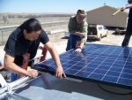 Students and instructors at Oglala Lakota College designed, connected and built a mobile solar energy system over the course of two days. | Photo courtesy of Oglala Lakota College.