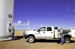 Workers prepare to service a turbine. | Photo credit National Renewable Energy Lab (NREL).
