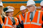 EM Paducah site lead Jennifer Woodard discusses electrical resistance heating as part of the trichloroethene remediation at the C-400 groundwater contamination source with David Klaus, DOE Deputy Under Secretary for Management and Performance (right).