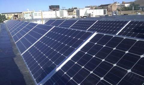 Photo of rooftop solar panels.