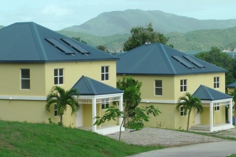 Image of PV installed on house roofs in St. John, U.S. Virgin Islands