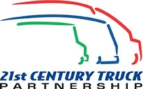 Logo for 21st Century Truck Partnership. Partial outline of three various size medium to heavy-duty trucks followed by the words, 21st Century Truck Partnership.