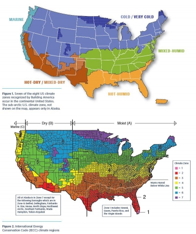 Photo showing climate zone maps based on the IECC climate zone map.