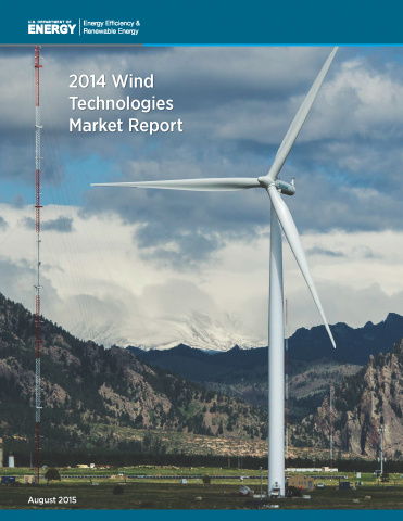 A photo of the cover of the 2014 Wind Technologies Market Report.