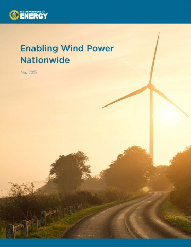 The cover of the 2015 report Enabling Wind Power Nationwide with a wind turbine on the right side, surrounded by trees.