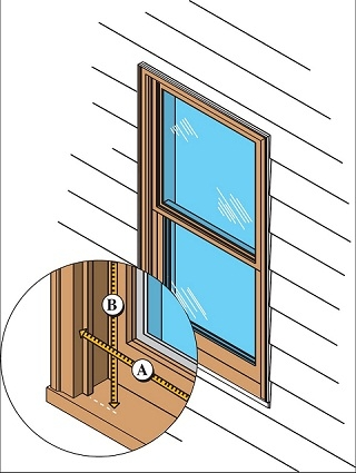graphic showing a window on the exterior wall of a house an enlarged cutout box