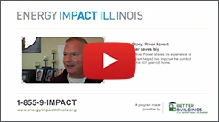 Energy Impact Illinois video screenshot with logo and phone number.