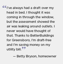 Quote for Greensboro: I've always had a draft over my head in bed. I thought it was coming in through the window, but the assessment showed the air was leaking around outlets. I never would have thought of that. Thanks to BetterBuildings for Greensboro, I'm draft-free and I'm saving money on my utility bill. -- Betty Bryson, homeowner