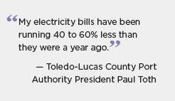 Toledo quote graphic: My electricity bills have been running 40 to 60 percent less than they were a year ago. -- Toledo-Lucas County Port Authority President Paul Toth