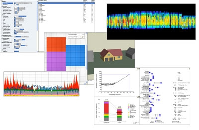 Collage of images taken from various BEopt output screens. The top, left image lists building measures and design elements with a base point, current point, and available options for that measure. The top, right image shows a colorful wave spectrum and has no label. In the middle is a 3-D model of a home with an attached chart showing three blocks of color. The bottom, left graph shows spikes along a spectrum with no label. The bottom, right image shows a plotted line graph with source energy savings relative to mortgage and utility costs, a listing of individual measures similar to those shown in the top, left graph, and a segmented vertical bar chart comparing base costs to the model inputted.
