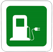 Graphic. White charging station against green background.