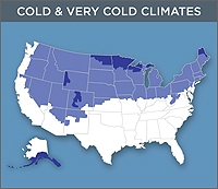 Map of the Cold & Very Cold Zones of the United States. The far tips of North Dakota, Maine, and southern Alaska are shown as Very Cold. The northern half of the United States is shown as Cold.