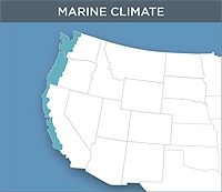 Map of the Marine Climate Zone of the United States. This zone contains the far western Pacific coast stretching from the Canadian border to mid-California.