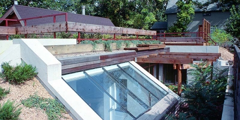 Image of a roof design incorporating skylights.