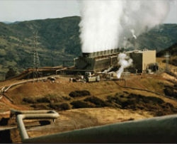 Image of a geothermal power plant at The Geysers.