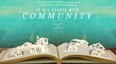 Graphic of houses on an open book, with the words 'It all starts with community.'