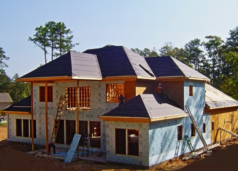 Photo of a house with exterior foam sheathing.