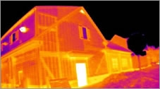 A thermal image of a house.