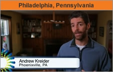 Photo of a man facing the camera, being interviewed, with the name on the screen: Andrew Kreider, Phoenixville, PA.
