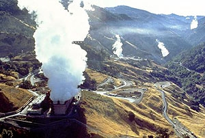 A photo of steam emanating from geothermal power plants at The Geysers in California.