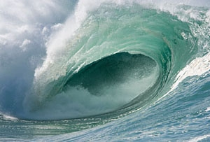 Photo of a large wave.
