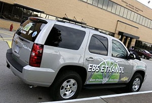 Photo of a gray van with 'E85 Ethanol' written on the side.