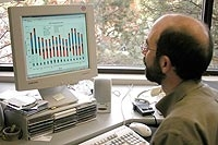 Photo of NREL employee Michael Deru using a desktop computer.