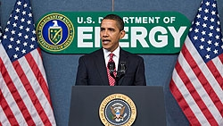 Photo of President Obama talking at a podium, in front of a banner that says 'U.S. Department of Energy.'