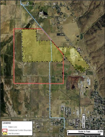 Lakeview, Oregon, processing site map showing site boundary, water line, and institutional control boundary.