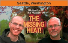 Photo of two men facing the camera, with a house in the background and the words 'Richard and the Mystery of The Missing Heat!'.