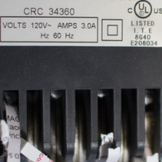 Label from a paper shredder showing 120 volts and 3 amperes.