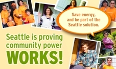 The logo for Community Power Works, with the words Seattle is providing community power WORKS!