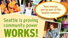 Community Power Works logo, saying Seattle is providing community power WORKS!
