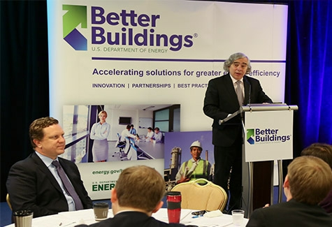 U.S. Secretary of Energy Ernest Moniz gives the keynote address at the 2014 Better Buildings Summit