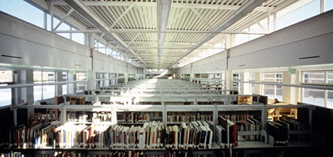Photo of the inside of a library.