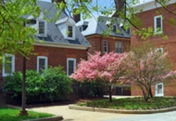 Photo of three brick buildings with flowering trees around them.