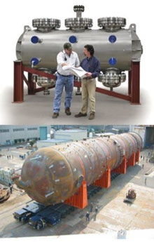 Photos of Velocys reactor (not much taller than an average human) and a conventional reactor (significantly bigger).