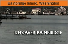 Photo of a body of water with houses far off on the shore. The headline over the photo reads 'Bainbridge Island, Washington.'