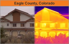 Two photos side by side, one a regular photo of a house, and the other the same house image but overlaid with fluorescent coloring marking areas of energy efficiency or loss. The headline over the photo reads 'Eagle County, Colorado.'