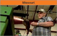 Photo of a man who's a farmer, who is welding. The headline over the photo reads 'Missouri.'