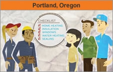 Graphic of five people of varying genders and ethnicities, standing next to a circle that has a home energy checklist in it. The headline over the photo reads 'Portland, Oregon.'