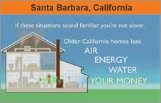 Graphic of a house, showing the rooms inside, and reading 'If these situations sound familiar, you're not alone. Older California homes leak AIR, ENERGY, WATER, YOUR MONEY.'