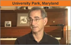 A photo of a man seated and facing an interviewer off-camera. The headline over the photo reads 'University Park, Maryland.'