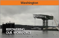 Photo of a river or lake and a worksite on a cloudy day. The headline over the photo reads 'Washington.'