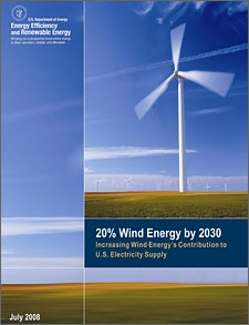 Cover of the report, '20% Wind Energy by 2030: Increasing Wind Energy's Contribution to U.S. Electricity Supply.' Shows a close-up of a wind turbine spinning in the wind, in a wide, open field.  Other turbines can be seen in the distance.